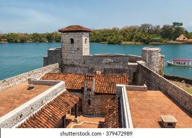 Fortress Castillo de San Felipe de Lara looking over Izabal lake in Guatemala