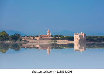 Fortress de Saint-Honorat and Abbey of Lérins in the Île Saint-Honorat in South of France opposite to Cannes.