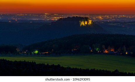 The Königstein Fortress in the early evening light