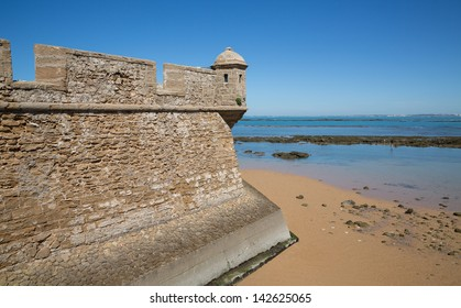 Fortress at the edge of the ocean in Cadiz, Spain