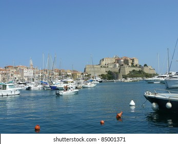 The fortress and the harbour of Calvi, Corsica