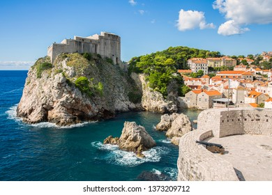 Fortress Lovrijenac in Dubrovnik with small West harbor