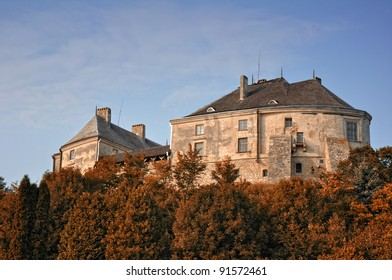 Fortress in Olesko in autumn. Ukraine. Small town in Lviv Oblast (province) of western Ukraine. Birthplace of Jan III Sobieski, the King of Poland and Grand Duke of Lithuania.