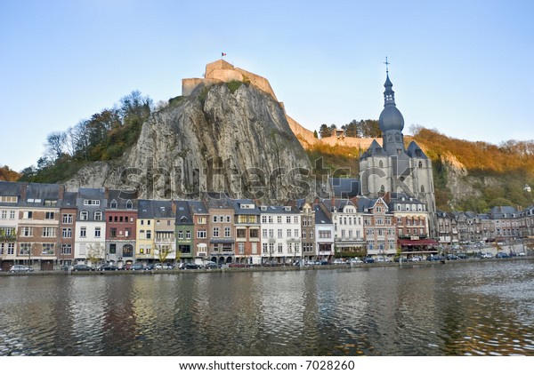 Fortress on a rock in a city.  Dinant,  Belgium.