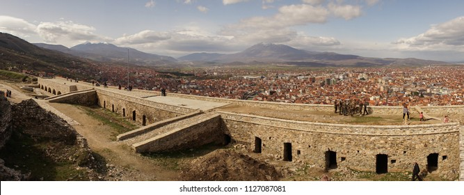 Fortress of Prizren with mountain background in Kosovo.