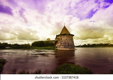 fortress in Pskov, the tower of the fortress, beautiful scenery
