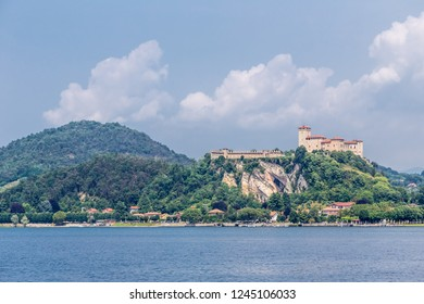Fortress Rocca of Angera, Italy, as viewed from Arona, across Lake Maggiore.