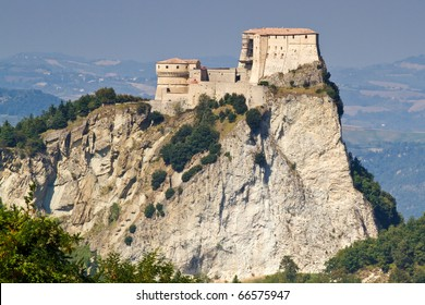 Fortress of San Leo, Italy, with landscape