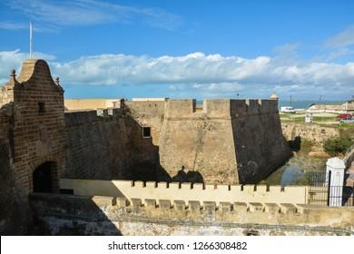 Fortress of Santa Catalina in Cadiz (Castillo de Santa Catalina). Fortification building in South-West Spain, Andalusia.