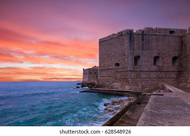 the Fortress of St. John (Mulo tower) - fortress controlling and protecting the entrance of the port of Dubrovnik. Croatia..