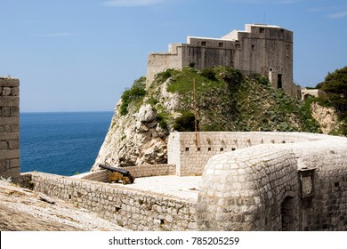 Fortress St. Lawrence often called Dubrovnik's Gibraltar a fortress and theater outside the western wall of the old city of Dubrovnik in Croatia with the Adriatic Sea