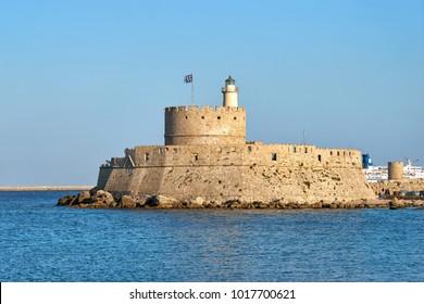Fortress of St. Nicholas in Mandraki port of Rhodes