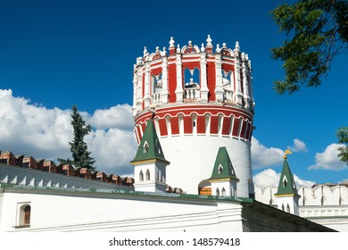 Fortress tower of the Novodevichy convent in Moscow, Russia