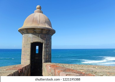 Fortress tower in Old San Juan Puerto Rico with blue sky
