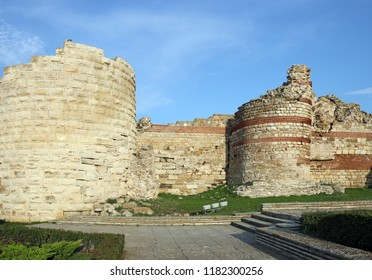 fortress tower and wall ruins Nessebar Bulgaria