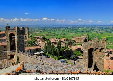 Fortress and town of Montalcino in Tuscany, Italy