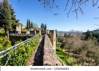 Fortress wall of Convent of Christ or Convent of Tomar. Tomar, Portugal