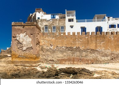 Fortress wall of old Essaouira town on Atlantic ocean coast, Morocco