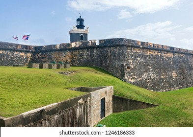 fortress walls and lighthouse of landmark citadel el morro in old san juan puerto rico