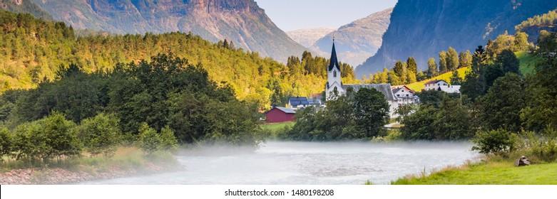 Fortun village near Skjolden in Fotundalen valley Sogn og Fjordane in Western Norway