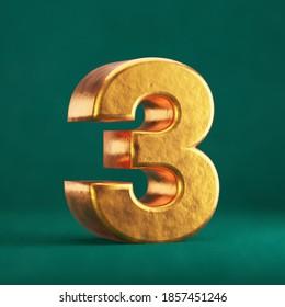 Fortuna Gold Number 3 on Tidewater Green background. Trend color font type symbol. 3d render.