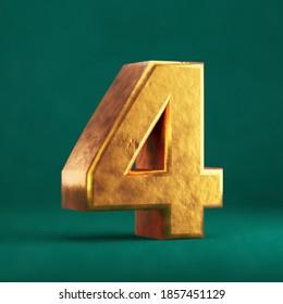 Fortuna Gold Number 4 on Tidewater Green background. Trend color font type symbol. 3d render.