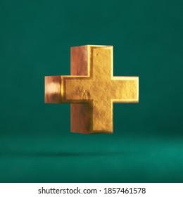 Fortuna Gold Plus on Tidewater Green background. Trend color font type symbol. 3d render.