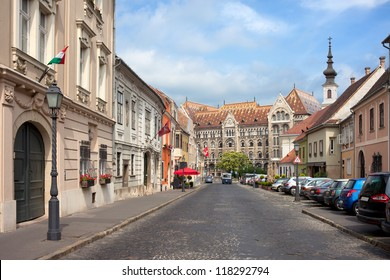 Fortuna street in Castle District, Budapest, leading to the National Archives of Hungary.