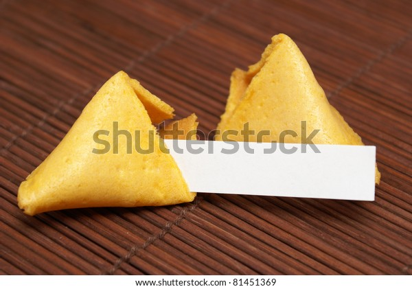 A fortune cookie with a blank paper for your message.