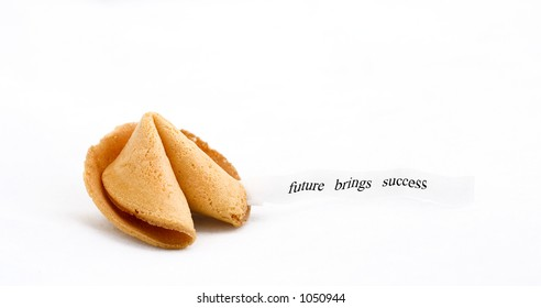 """fortune cookie with text  saying :""""future brings success"""""""