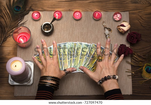 Fortune Teller Reading Future Tarot Cards Stock Photo (Edit