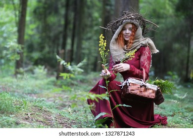 Fortune-teller conducts a ritual in the depths of the forest