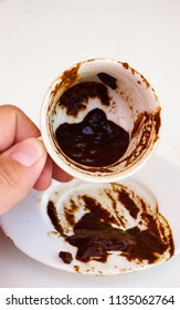 Fortunetelling from Turkish coffee grounds candid image close up view from different angles