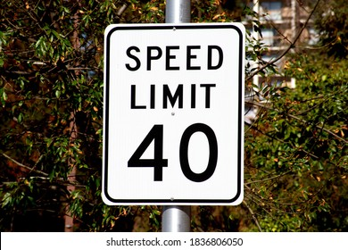 Forty mph speed limit sign on urban road. Speed zone traffic sign against tree landscape.