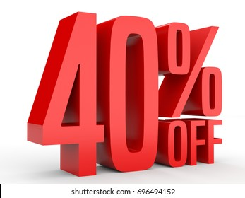 Forty percent off. Discount 40 %. 3D illustration on white background.