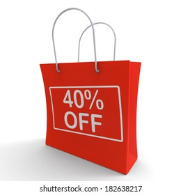 Forty Percent Off Shopping Bag Shows 40 Reduction