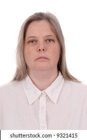 Forty something woman over a  white background