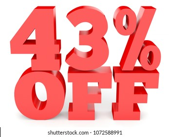 Forty three percent off. Discount 43 %. 3D illustration on white background.