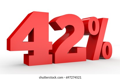 Forty two percent off. Discount 42 %. 3D illustration on white background.