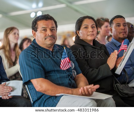 Forty-eight immigrants from twenty countries took part in a naturalization ceremony May 5 at Tom McCall Waterfront Park in Portland, OR. 5/5/2016.