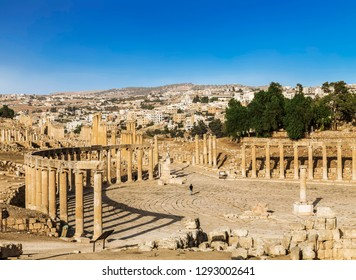 Forum in the ancient Roman city of Gerasa, Jerash, Jordan