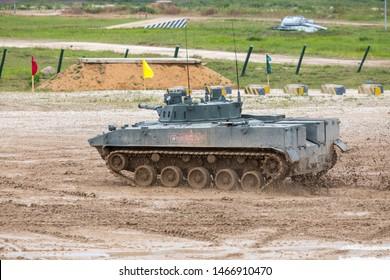 "FORUM ARMY-2019, Moscow, Alabino - June 30, 2019: BMD-4 (Boyevaya Mashina Desanta-4 literally ""Combat Vehicle of the Airborne"") is an amphibious infantry fighting vehicle (IFV)"