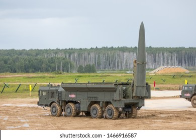 FORUM ARMY-2019, Moscow, Alabino - June 30, 2019: K720 Iskander (NATO: SS-26 Stone) - a mobile short-range ballistic missile system produced and deployed by the Russian Federation