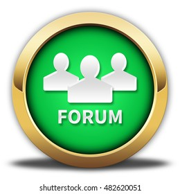 forum button isolated. 3D illustration