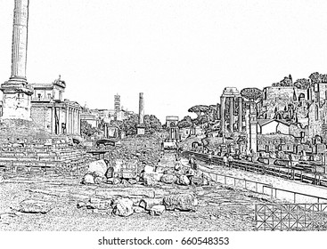 Forum Romanum (Italy): monochrome drawing. Landmark illustration for souvenirs, interior design, touristic covers, travel postcards, brochures and posters