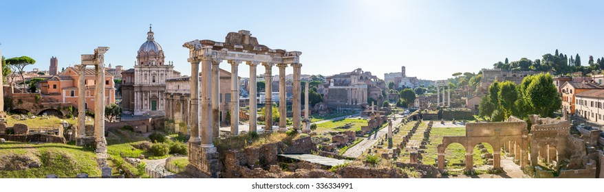 Forum Romanum view from the Capitoline Hill in Italy, Rome. Panorama