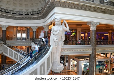 The Forum Shops at Caesars. Las Vegas NV. USA. October 3, 2018. The Forum Shops at Caesars is a major 677,138-square-foot shopping mall connected to Caesars Palace on the Las Vegas Strip.