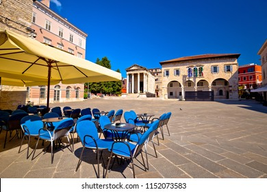 Forum square and Temple of Augustus in Pula view, Istria region of Croatia
