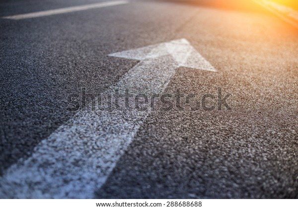 Forward igns on the road Forward and right signs on the road