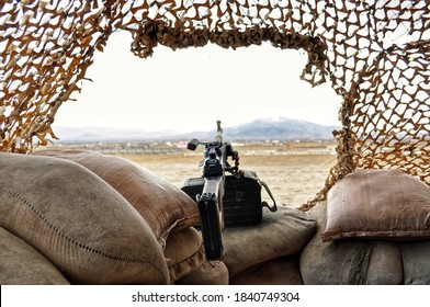 FORWARD OPERATING BASE GHAZNI, AFGHANISTAN - February 5, 2011: The view from a machine gun nest at the outer parameter of the installation used by NATO and ISAF forces during War in Afghanistan.
